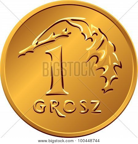 vector reverse Polish Money one Grosz copper coin with Value and 1 leaves poster