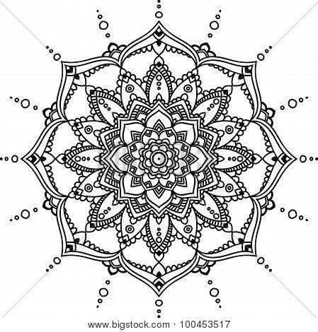 Black Line Graphic Indian Cirlce Mandala