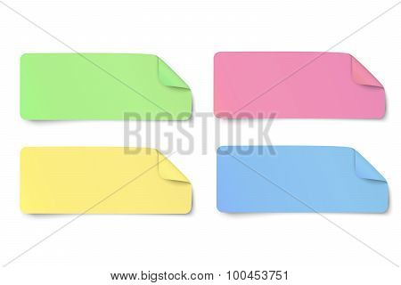 Set Of Color Rectangular Oblong Paper Stickers With Bent Edge