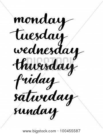 Handwritten days of the week. Black ink calligraphy words isolated on white background. poster