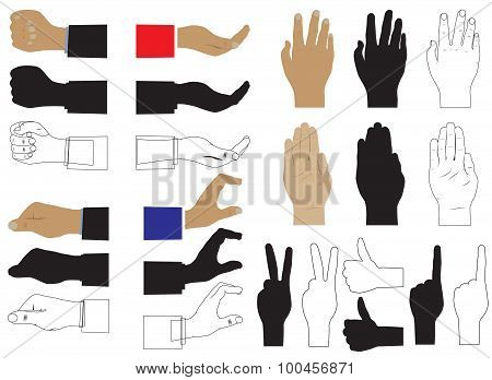 Hand. Various Images And Silhouettes.