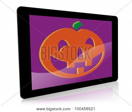 A Halloween-themed illustration of a hand-held digital tablet with a pumpkin graphic on screen.
