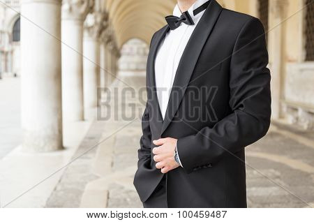 Elegantly dressed man in tuxedo