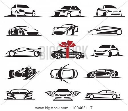 set of fifteen car icons