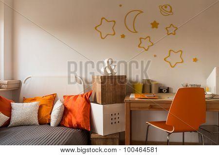 Orange Cushions And Chair
