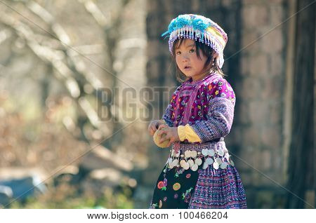 H'mong ethnic little girls in traditional custome
