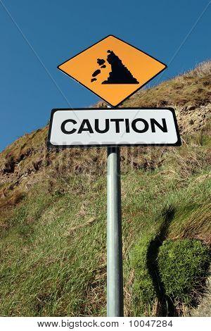 Landslide Warning Road Sign