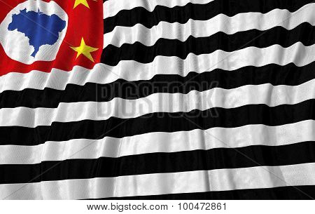 Corrugated brazilian state sao paulo close up flag 3D illustration poster