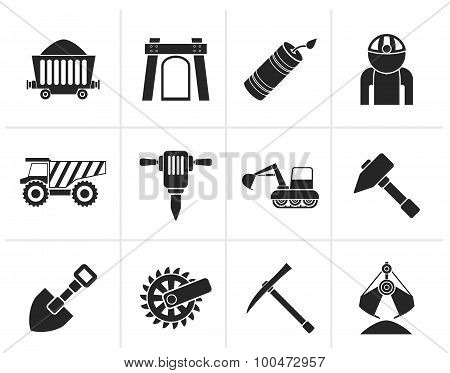 Black Mining and quarrying industry objects and icons