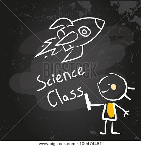 First grade science class education, hand drawn on blackboard with chalk. Hand drawing and writing doodle style, sketchy illustration.