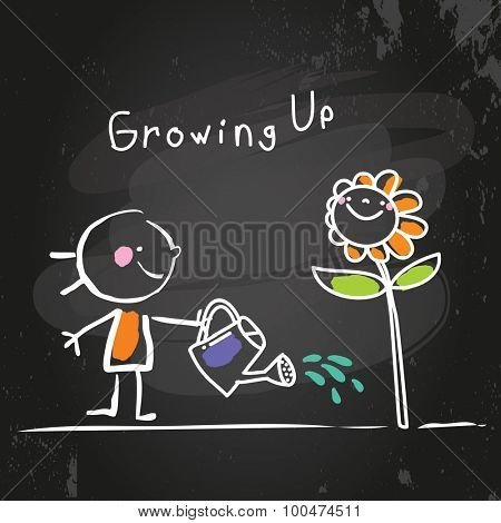 Growing up conceptual vector illustration. Kid watering a flower, chalk on blackboard doodle style hand drawn drawing.