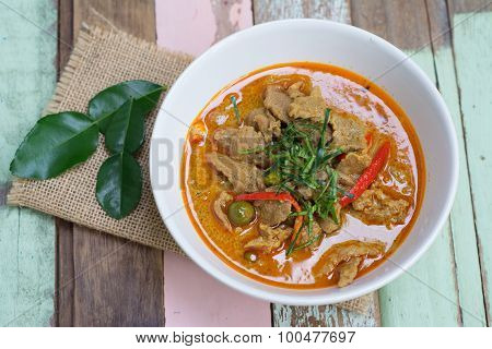 Red Savory Curry Paste With Pork And Coconut Milk (pa Nang)