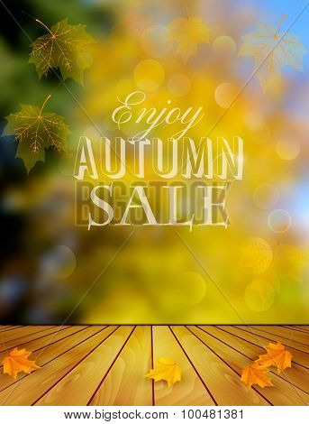 Autumn Sale Background With Colorful Leaves. Vector.