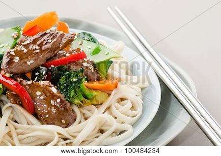 Chinese noodles with beef strips and stir fried vegetables, oriental cuisine poster