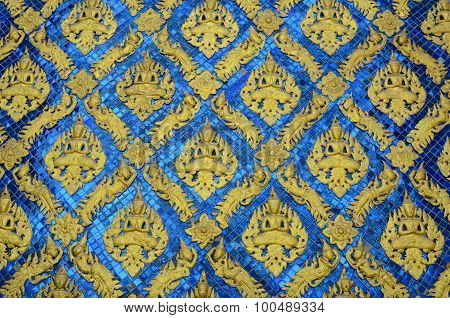 Thai Traditional Classic Pattern In Decorated Temple. Sculptures In The Temple