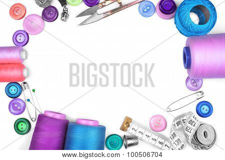 Sewing Items On White Background