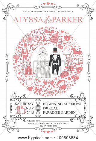Wedding invitation with wreath composition.Retro Wear,icons