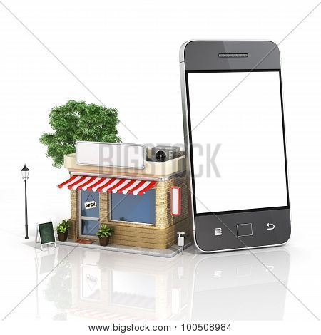 Concept Of Phone Online Store. Online Store Mobile Flat Design. Beautiful Shop With Phone.