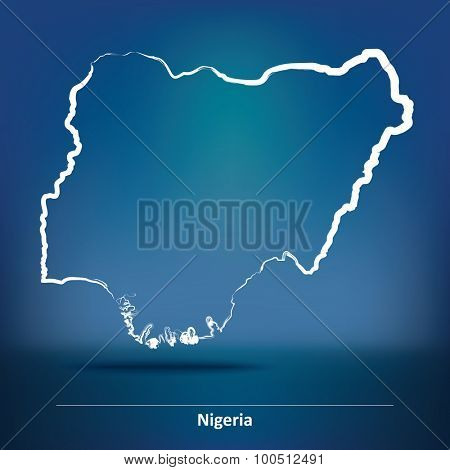 Doodle Map of Nigeria - vector illustration