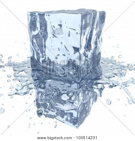 Ice Cube With Water Splash