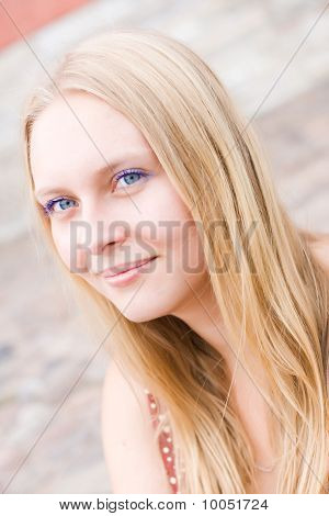 Summer Portrait Of The Beautiful Fair-haired Girl