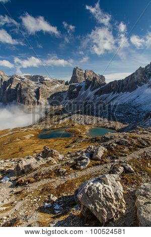Monte Paterno With Blue Lakes-tre Cime,dolomites