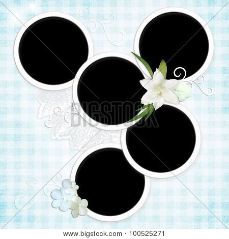 Grunge Textured Background With Round Framework And Flowers.