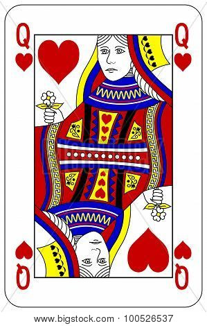 Poker Playing Card Queen Heart