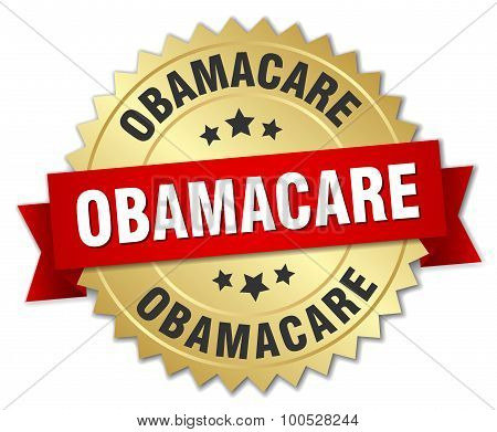 Obamacare 3D Gold Badge With Red Ribbon