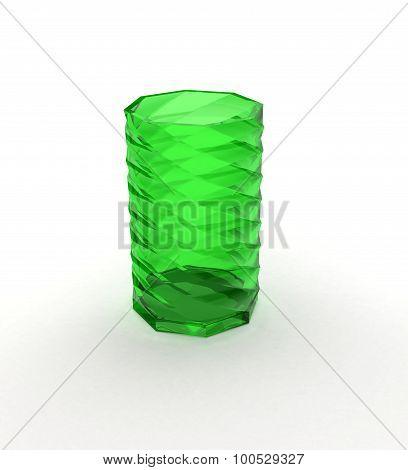 Green Glass Over White