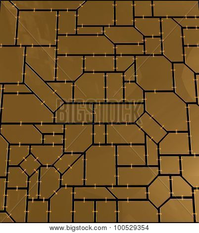 Mosaic Of Geometric Plates With Chains