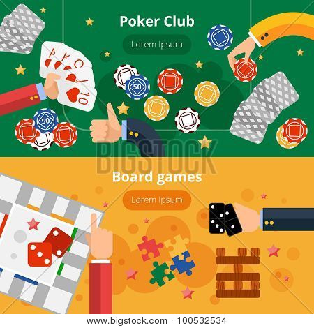 Gambling games flat banners set