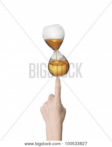 Human Finger Pointing At Hourglass