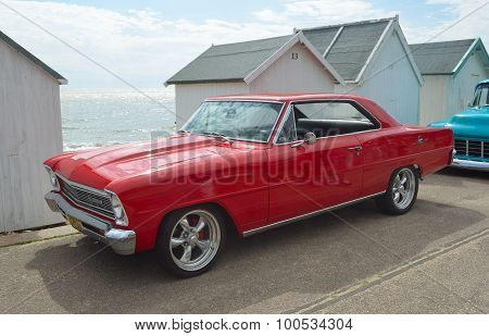 Classic red Chevrolet Chevy II