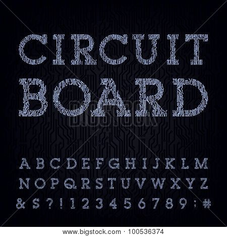 Circuit board type font. Vector Alphabet.
