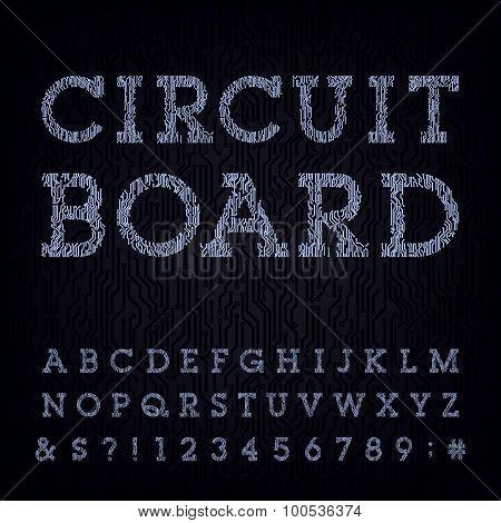 Circuit board type font. Vector Alphabet.