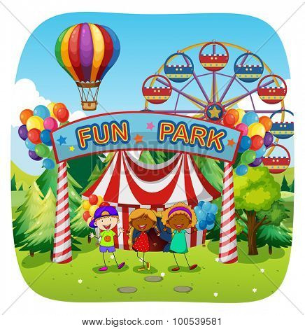 Children having fun at fun park illustration