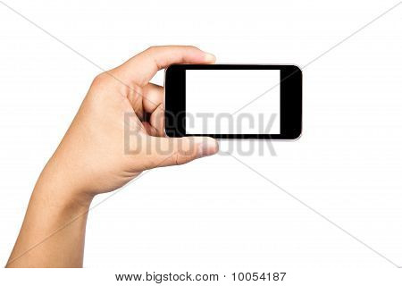 Holding a touch smart phone