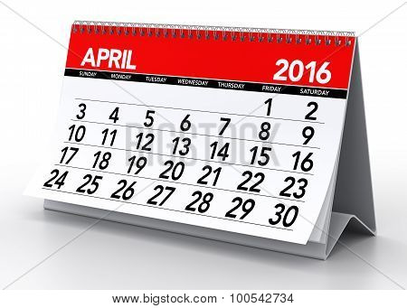 April 2016 Calendar. Isolated On White Background. 3D Rendering