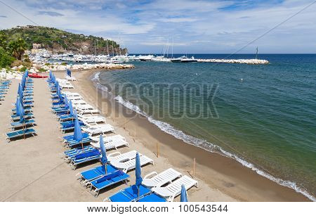 Beach Of  Lacco Ameno, Ischia Island, Italy