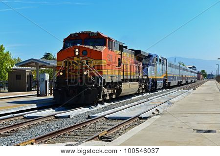 Freight Engine Pulls Amtrak