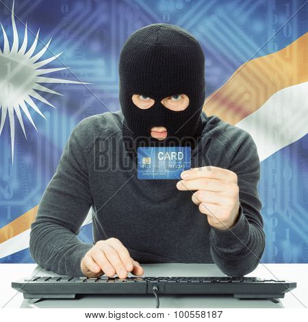Concept Of Cybercrime With National Flag On Background - Marshall Islands