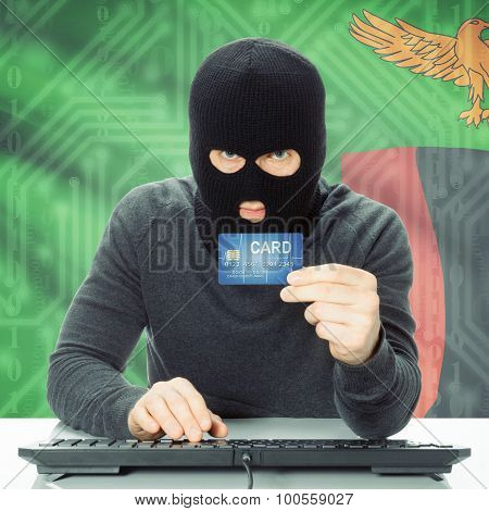 Cybercrime concept with flag on background - Zambia poster
