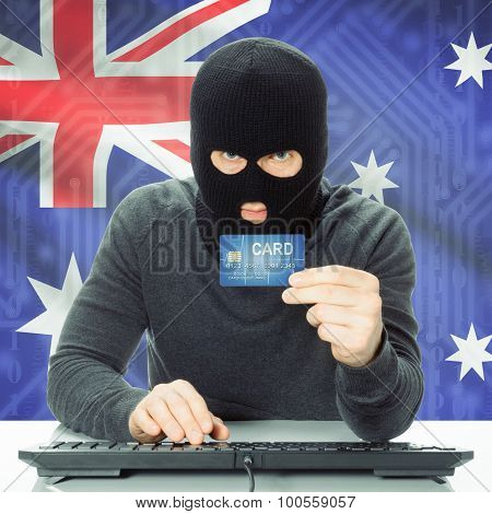 Concept Of Cybercrime With National Flag On Background - Australia
