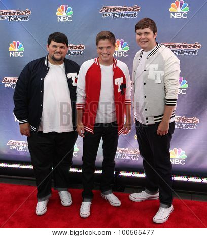 NEW YORK-AUG 11: Members of Triple Threat attend the 'America's Got Talent' season 10 taping at Radio City Music Hall on August 11, 2015 in New York City.