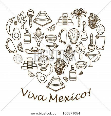 Vector background with cute hand drawn objects in heart shape on Mexica theme