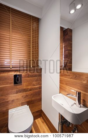 Wood Bathroom With White Fixture
