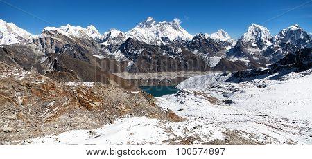 Everest, Lhotse, Makalu And Gokyo Lake From Renjo La Pass