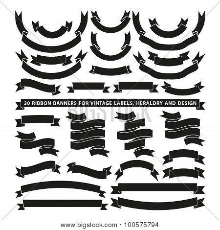 Set of thirty vector banner ribbons