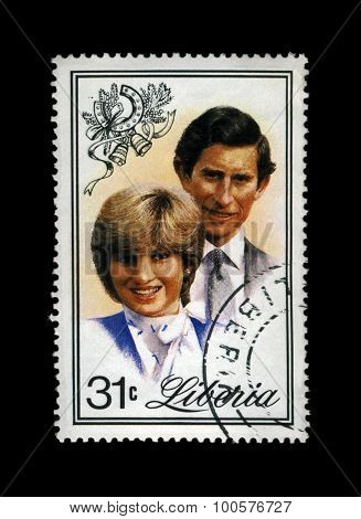 Liberia - Circa 1982: Cancelled Stamp Printed In Liberia Shows Marriage Of Lady Diana Spencer And Pr